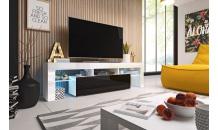 TV stolek TORO 158 RTV bílý mat/černý lesk/bílý lesk