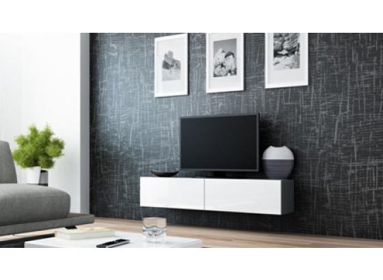 TV stolek VIGO RTV 140 šedý mat/bílý lesk