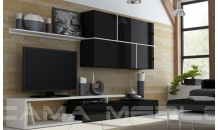 Obývací stěna GOYA černý mat/černý lesk/bílý mat
