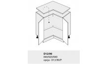 Dolní skříňka kuchyně TITANIUM D12 90 rohová bílá