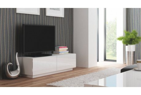 RTV stolek LIVO RTV 160S bílý/bílý lesk