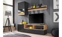 Obývací stěna MINI černý mat/dub artisan