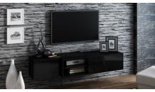 Televizní stolek SIGMA1E závěsný, černý mat/černý lesk