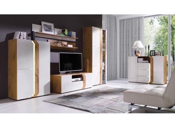 Obývací stěna LOFT A dub lancelot/bílý lesk