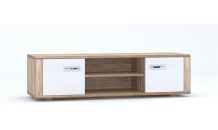 TV stolek DAVIN 2D dub canyon/bílý vysoký lesk