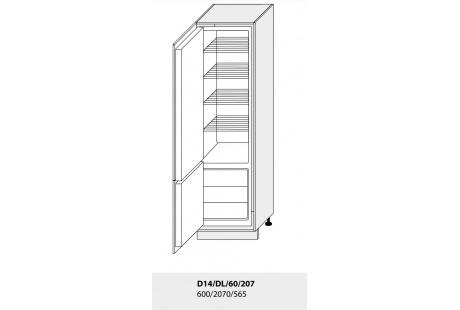 Dolní skříňka kuchyně TITANIUM D14DL 60 vestavba na lednici/grey