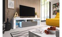TV stolek TORO 158 RTV bílý mat/šedý lesk/bílý lesk