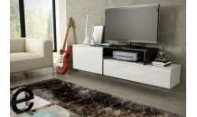 Televizní stolek SIGMA 3A závěsný, bílý lesk/bílý mat/černý lesk