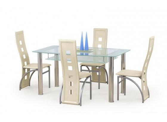 Jídelní stůl CRISTAL bezbarvý/mléčný