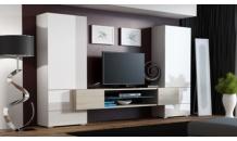 Obývací stěna TORI bílá mat/bílá lesk/dub sonoma mat