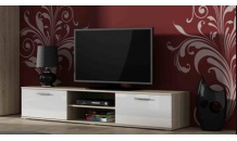 TV stolek SOHO 180 S 3 dub sonoma/bílý lesk