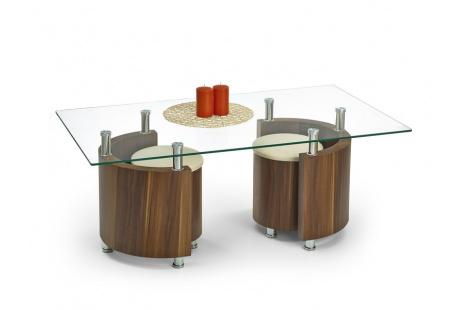 Konferenční stůl ANGEL ořech/sklo + taburety