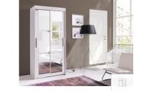 Šatní skříň KARO 100 bílá  se zrcadlem