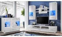 Obývací stěna RENO bílá mat/bílý lesk