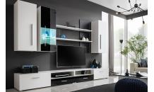 Obývací stěna TORINO bílá/černý lesk