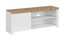 TV stolek VIGO 1D/160 bílý lesk/dub