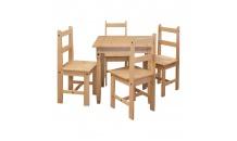 Jídelní stůl 16117 CORONA 2 + 4 židle 1627 masiv borovice