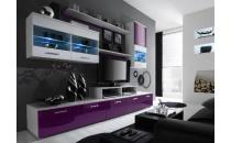 Obývací stěna LOGO II bílý mat/fialový lesk/bílý lesk