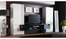 Obývací stěna TORI bílá mat/bílá lesk/černý mat/černá lesk