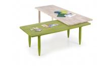 Konferenční stolek BORA BORA white wash/zelená