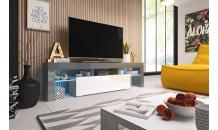 TV stolek TORO 158 RTV šedý mat/bílý lesk/šedý lesk