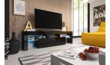 TV stolek TORO 158 RTV černý mat/černý lesk/černý lesk