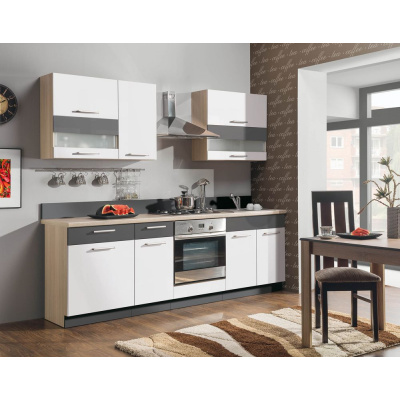 MODENA MDF - kuchyňský komplet 240 cm/bílá lesk-grafit mat