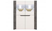 Vitrína nízká BRANDO B4 bílý lesk/beton