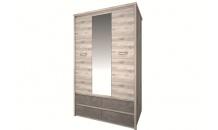Šatní skříň se zrcadlem JAZZ 3D4S kaštan nairobi/onyx