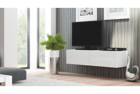 Televizní stolek LIVO RTV 160W  bílý / bílý lesk