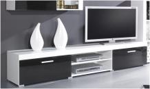 TV stolek SAMBA bílá/černý lesk