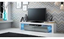 TV stolek SOLO RTV bílý mat/šedý lesk