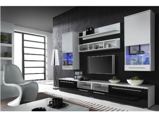 Obývací stěna LUNA bílý mat/bílý lesk/černý lesk