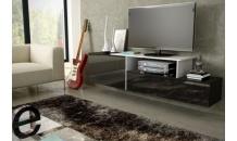 Televizní stolek SIGMA 3C závěsný, černý mat/černý lesk/bílý lesk