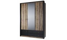 Šatní skříň se zrcadlem JAGGER 3D2S dub monastery/černá