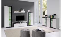 Obývací stěna PIANO bílá/černá