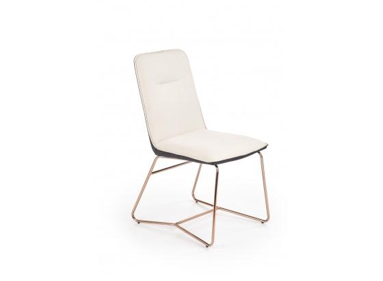Jídelní židle K390 eko kůže krémová/tmavě šedá/zlatá