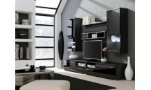 Obývací stěna LUNA černý mat/černý lesk