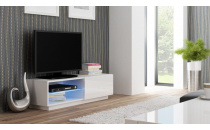 Televizní stolek LIVO RTV 120S  bílý / bílý lesk