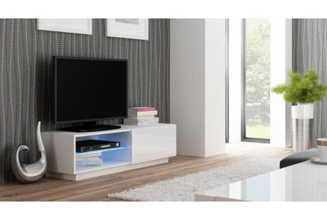 TV stolek LIVO RTV 120S bílý/bílý lesk