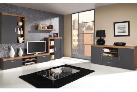 Obývací stěna SAMBA s komodou švestka/grafit