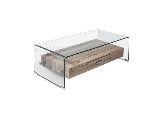 Konferenční stolek 1 zásuvka sklo/MDF