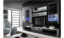 Obývací stěna LUNA bílý mat/černý lesk