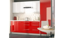 Kuchyň PLATINUM 250 cm bílý lesk/červený lesk