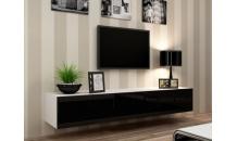 TV stolek VIGO RTV 180 bílý mat/černý lesk