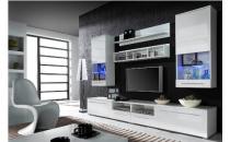 Obývací stěna LUNA bílý mat/bílý lesk