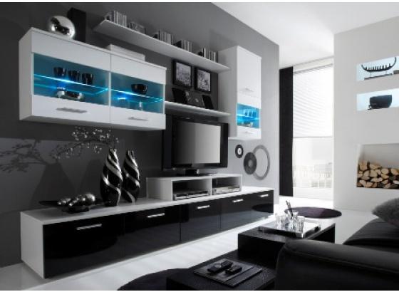 Obývací stěna LOGO II bílý mat/bílý lesk/černý lesk