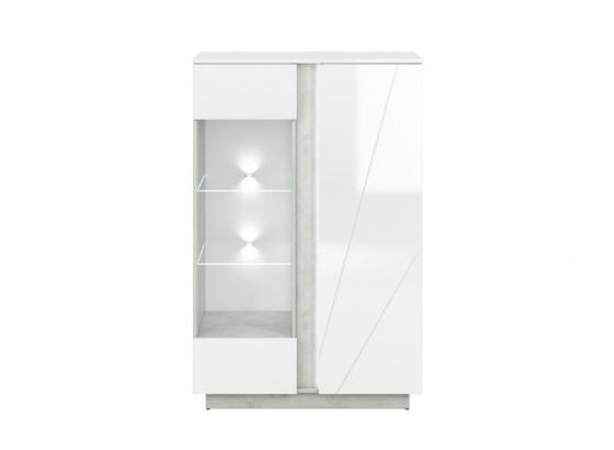 Vitrína LUMENS 04 bílý lesk/stříbrný beton