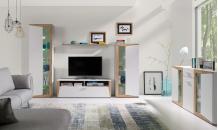 Obývací stěna PIANO bílá/dub zlatý