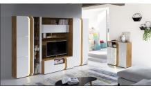 Obývací stěna LOFT B dub lancelot/bílý lesk
